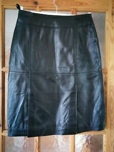 """COLLECTION Black Real Leather Skirt 2 Front Vents Size:10 -  28"""" Waist"""