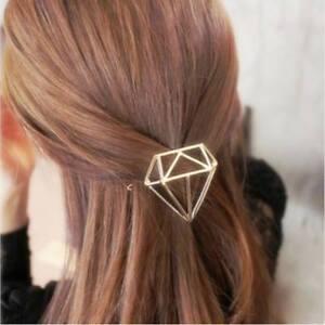Diamond hair clip Gold or silver Metal Clip Minimalist Geometric gift FREE POST