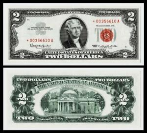 **STAR NOTE**1963* $2 UNITED STATES  NOTE ~RED SEAL ~CRISP~GEM UNCIRCULATED