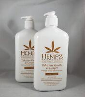 2- Hempz Lotion Herbal Body moisturizer - Tahitian Vanilla & Ginger - 17oz