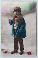 1900s Little BOY in coat and HUT Vintage French France Photo Postcard