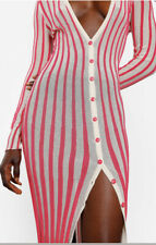 Jacquemus Knit Maxi Button Up Dress Pink Striped La Robe Jaques 40 SOLD OUT
