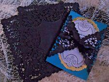 "50 pc 💕 8"" In Black Paper Lace Doily Square Elegant Floral Envelope WRAP INVITE"