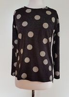 FRENCH CONNECTION Black Metalic  Spot TOP Size XS