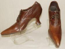 Rare Orig Edwardian Titanic Teens Choc Brown Kid Leather Pointy Dress Shoes