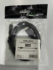 USB 2.0 A MALE To MICRO B Data and Charging Cable 1.5m Lead