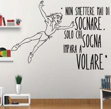 adesivi murali da parete Peter Pan wall sticker frasi cameretta disney bambini