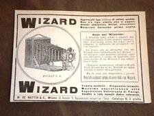 Pubblicità d'Epoca dei primi anni del 1900 Macchina fotografica Wizard - Milano