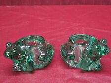 Vintage Indiana Glass Green Glass Frog Votive Candle Holders Set of 2