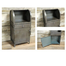 Industrial Grey 1 Door 1 Drawer Bedside Lamp Table Side End Storage Cabinet Unit