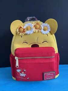 Loungefly Disney Winnie the Pooh Floral Crown Flocked Mini Backpack