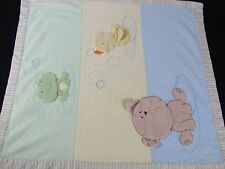 Carters Baby Blanket Yellow Blue Green Security Puppy Dog Bear Duck Frog Stripe