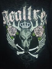 Realtree AP Burnout Graphic Skull Black Hunting T Shirt Women Small Long Sleeve