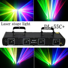 USA ship 560mW Red+Green+Blue+Yellow 4 Lens Laser Stage Light DJ home Party DMX