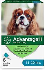 New! Advantage Ii Medium Dog Professional Flea Treatment - 6 Pack, for 11-20 lbs