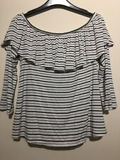 American eagle outfitters Frill Detail 3/4 Sleeve Stripe Top BNWT MEDIUM
