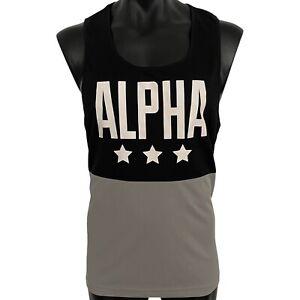 ALPHA WEAR Gym bodybuilding singlet men's L black grey polyester tank top vest