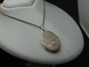 Altes Silber .835 ovales Medaillon mit Blumen für Fotos kurze Silber .925 Kette