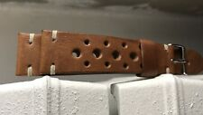 20mm handmade horween veg tanned Natural Brown Leather Racing Rally watch Strap
