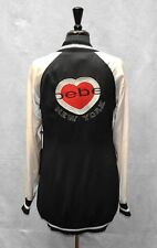 B6 NWT BEBE Long Varsity Ivory/Black Snap Buttons Embroidered Jacket Size M $189