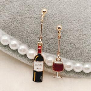 Asymmetrical Wine Bottle & Glass Drop Novelty Stud EARRINGS Gift Dress Accessory