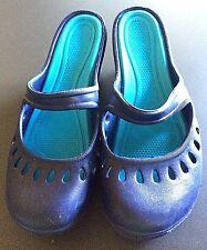 Navy Blue Rubber Clogs Waterproof Mary Jane Mule Wedges Shoe Women's US Size 8 M