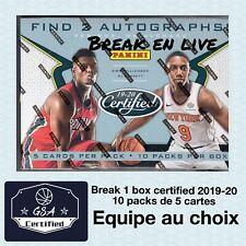 Break 2019-2020 Panini Certified 1 box (10 packs de 5 cartes) équipe au choix