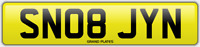 JAYNE SNOB NUMBER PLATE SN08 JYN CHERISHED CAR REG JANE JAYNES NO ADDED FEES
