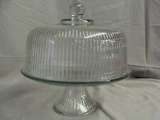 New Clear Glass Footed Cake Stand W/ Dome Lid, Can Be Used As A Punch Bowl