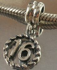 925 STERLING SILVER NUMBER 16 DANGLE European CHARM BEAD oxidised finish