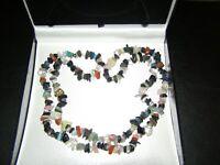 "Stunning 34"" Single String Chakra Gemstone Chip Necklace Gift Reiki Healing Gift"