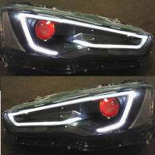 LED DRL Demon Eyes Blackout Headlights  For Mitsubishi Lancer / EVO X 2008-2017