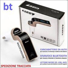 CARICABATTERIE AUTO Bluetooth LETTORE FM USB MICRO SD JACK 3.5 DISPLAY VIVAVOCE