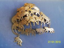 Ultra Craft Massive 4 inch Animal Brooch monkey elephant panther rare Vintage