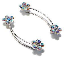 Sterling Silver Aurora Borealis Flowers Crystal Sweeps EarPin Crawler Earrings