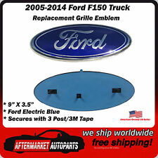 "Ford Grille Emblem F150 F-150 Electric Blue Oval 9"" Front Replacement Badge 3D"
