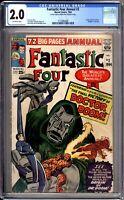 Fantastic Four Annual 2 CGC Graded 2.0 GD Origin Doctor Doom Marvel Comics 1964