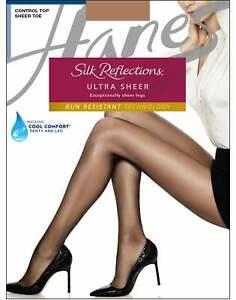 Hanes Pantyhose Silk Reflections Ultra Sheer Control Top Run Resistant 10 denier