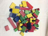 Vintage 62 Piece Childrens Wood Blocks Red Yellow Green Blue Building Toys