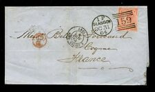 Gb Qv 1864 Scotland 4d Sg82 Pc.Superb Strike of Glasgow 1F Duplex.cv £250