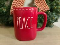 """Rae Dunn RED """"PEACE"""" Christmas Coffee Mug with white stitching NEW 2020 Holiday"""