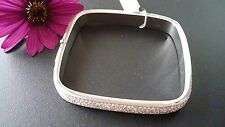 STUNNING 925 SOLID STERLING SILVER ZIRCONIA BANGLE  MADE IN ITALY EXCLUSIVE GIFT