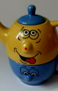 ESSENCE STONEWARE Quirky Teapot & Mug Set For One NEW Tea For 1 Gift