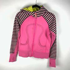 Lululemon Size 4 Neon Pink Striped Long Sleeve Full Zip Scuba Hoodie Jacket