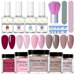 13Pcs/Set BORN PRETTY Glitter Dipping Powder Nail Art Dip Liquid Brush File Kit