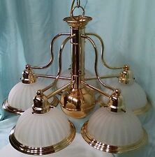 VINTAGE BRASS AND GLASS 5 ARM CHANDELIER WITH SPOT LIGHT