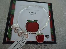 ALEX and ANI APPLE Shiny Silver Bangle, Charity By Design New W/ Tag Card & Box