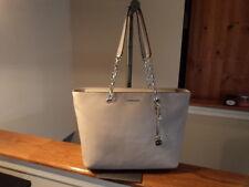Michael Kors Mercer Medium TZ Multi-Function Pearl Grey Leather Chain Tote NEW
