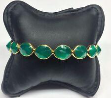 "Gold Tone Sterling Silver 925 Opaque Green Emerald Circle Bangle Circ 7.5"""