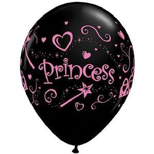 "10 pc 11"" Onyx Black & Pink Princess Latex Balloon Party Decoration Birthday"